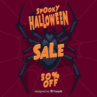Flaches design von halloween-verkauf mit riesiger spinne