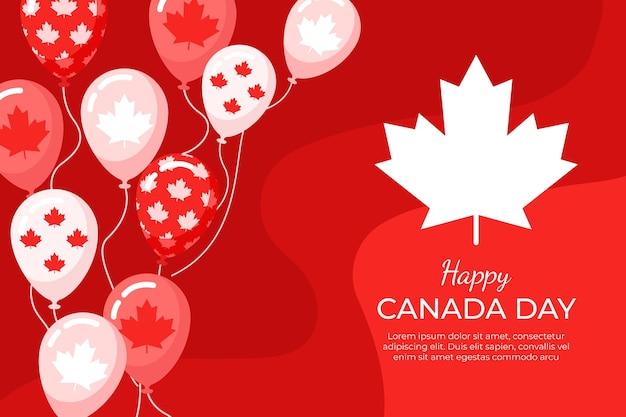 Flaches design von kanada-tagesballonhintergrund