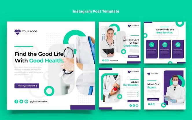 Flaches design von medizinischen instagram-beiträgen