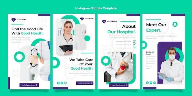 Flaches design von medizinischen instagram-geschichten
