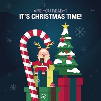 Flaches design von netter santa sitting auf geschenken
