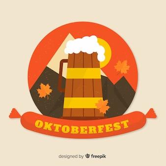 Flaches design von oktoberfest bier vom fass