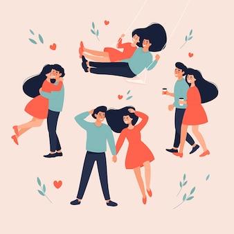 Flaches design von paarmomenten illustration