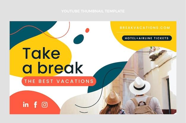 Flaches design von reise-youtube-thumbnail