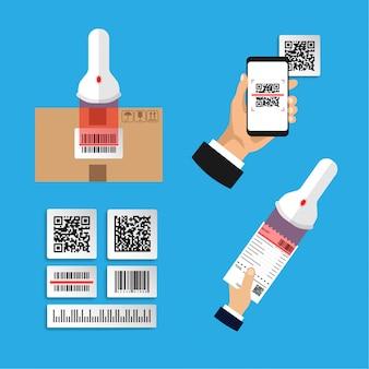 Flaches design von set-infografiken zum scannen von codes. scannen sie barcode und qr-code. isolierte illustration.