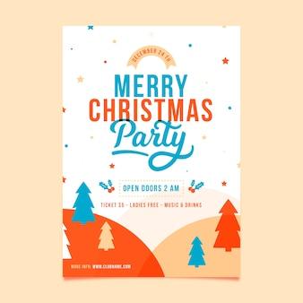 Flaches design vorlage weihnachtsfeier flyer