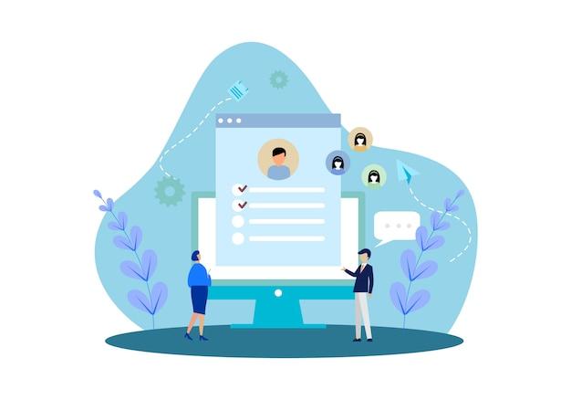 Flaches design webseitenvorlagen von online-rekrutierung job