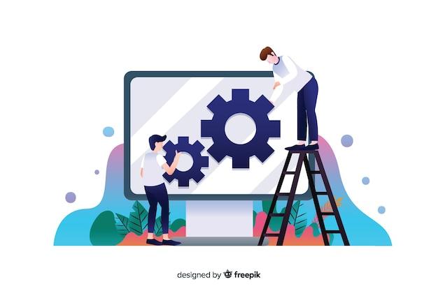 Flaches design website-setup-konzept mit charakteren