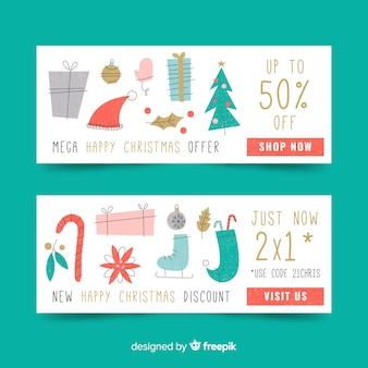 Flaches design weihnachten banner vorlage