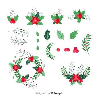 Flaches design weihnachten blume & kranz set