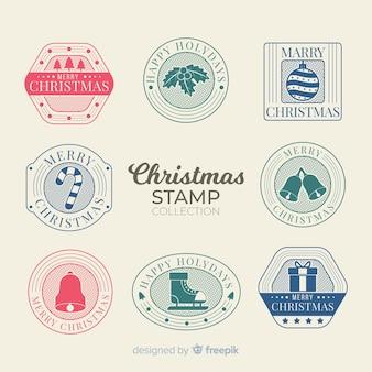 Flaches design weihnachten briefmarkensammlung