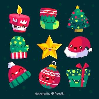 Flaches design weihnachten elementsammlung