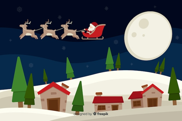 Flaches design weihnachten hintergrund