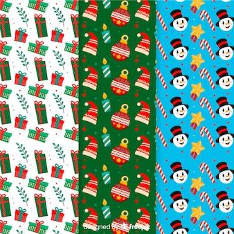 Flaches design weihnachten mustersammlung