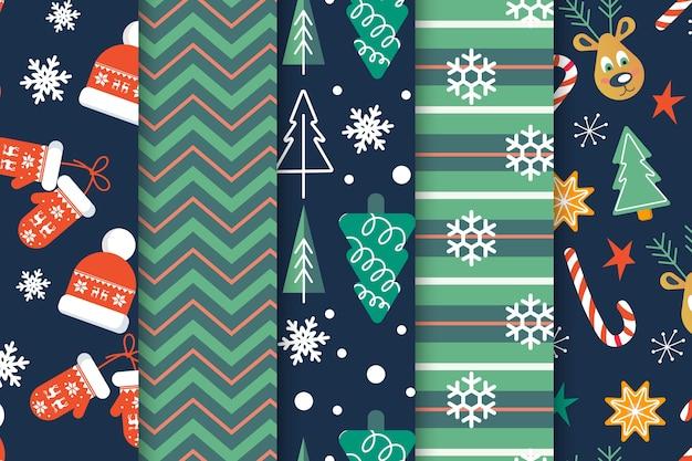 Flaches design weihnachten mustersatz