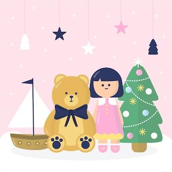 Flaches design weihnachten spielzeug hintergrund