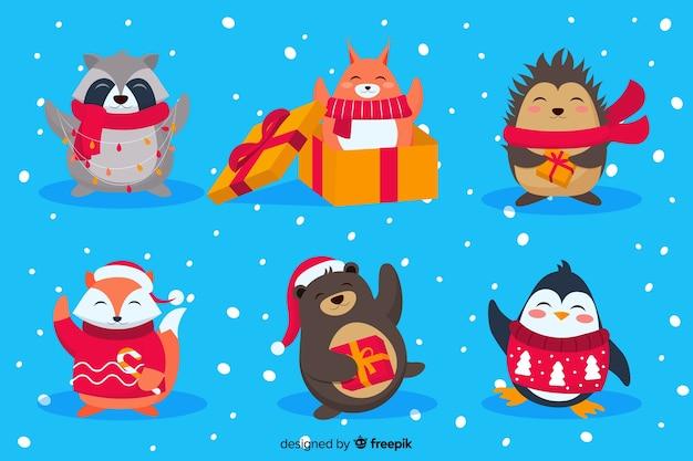 Flaches design weihnachten zeichen sammlung