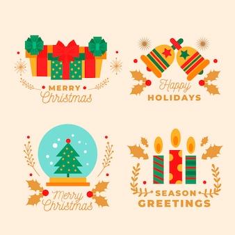 Flaches design weihnachtsabzeichen sammlung