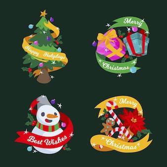 Flaches design weihnachtsabzeichensatz