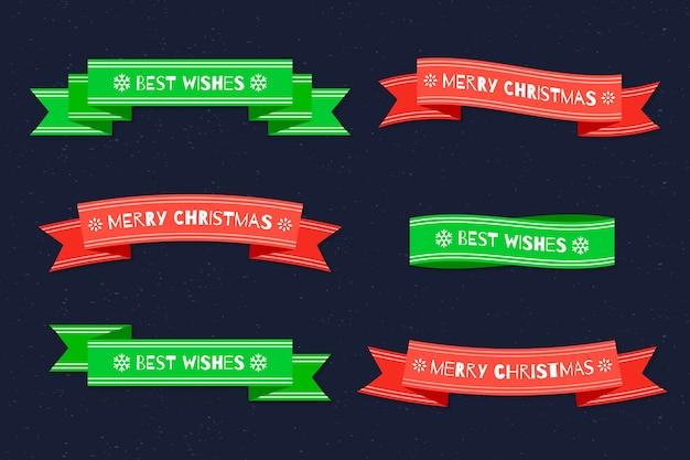Flaches design weihnachtsband sammlung