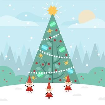 Flaches design weihnachtsbaum hintergrund