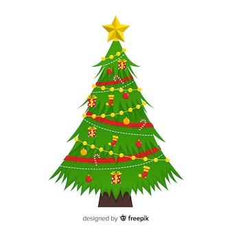 Flaches design weihnachtsbaum konzept