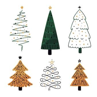 Flaches design weihnachtsbaum sammlung