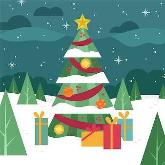 Flaches design weihnachtsbaum tapete