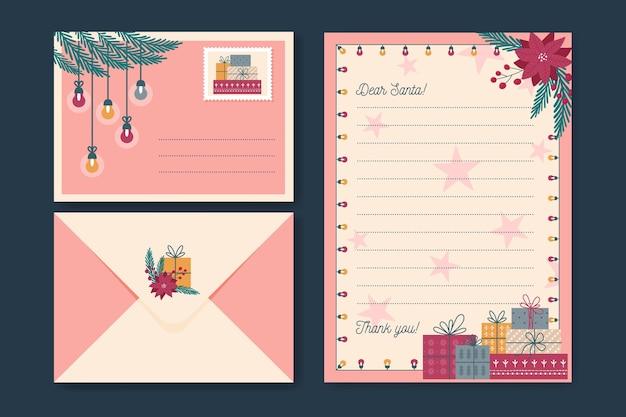 Flaches design weihnachtsbriefpapierschablonensatz