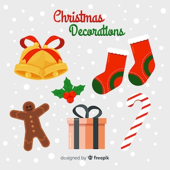 Flaches design weihnachtsdekoration pack
