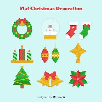 Flaches design weihnachtsdekoration pack