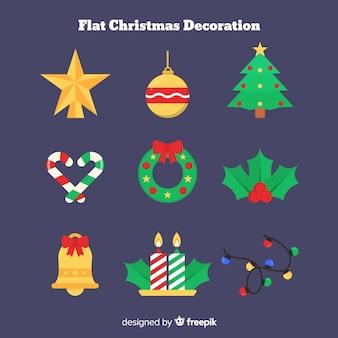 Flaches design weihnachtsdekoration sammlung