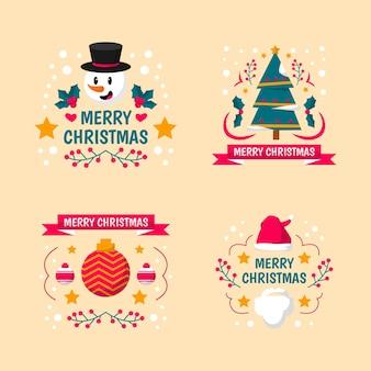 Flaches design-weihnachtsetikettenset