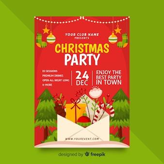 Flaches design weihnachtsfeier plakat vorlage