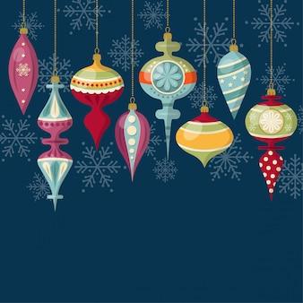 Flaches design weihnachtskarte mit weihnachtskugeln
