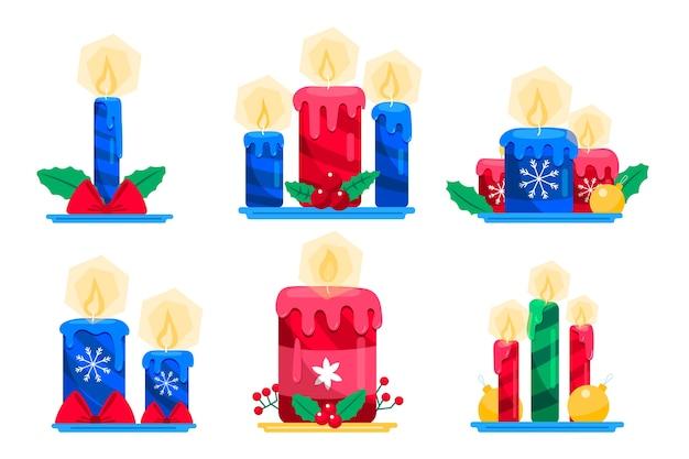 Flaches design weihnachtskerze sammlung