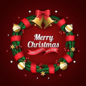 Flaches design weihnachtskranz konzept