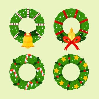 Flaches design weihnachtskranz sammlung