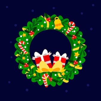 Flaches design weihnachtskranz