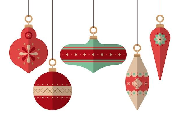 Flaches design weihnachtskugeln gesetzt