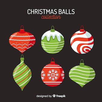 Flaches design weihnachtskugeln pack