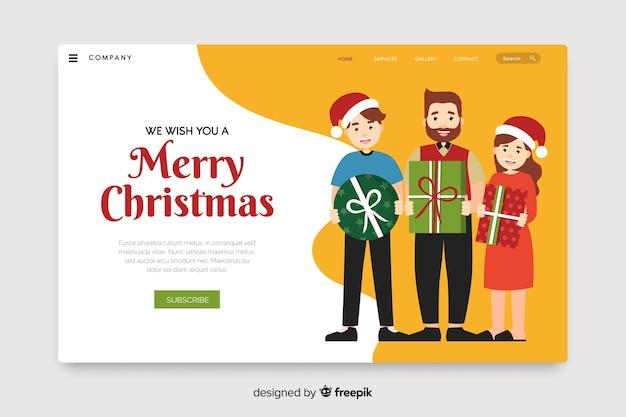 Flaches design weihnachtslandung seitenvorlage