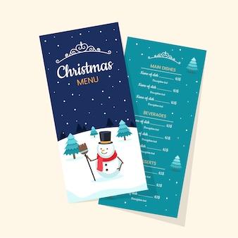 Flaches design weihnachtsmenü-schablonensatz
