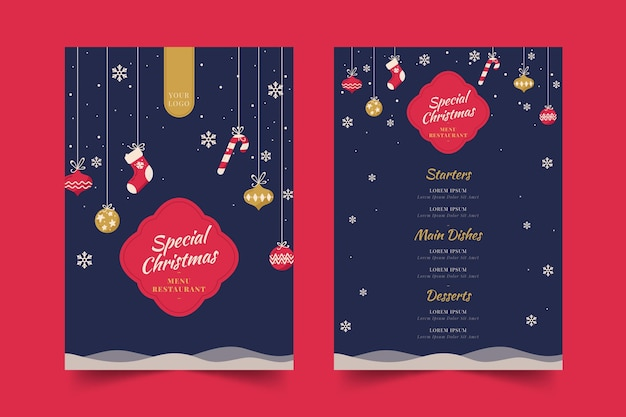 Flaches design-weihnachtsmenü-schablonensatz