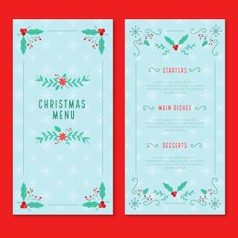 Flaches design weihnachtsmenü vorlagensatz