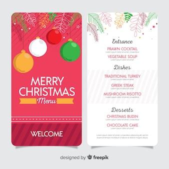 Flaches design weihnachtsmenüvorlage