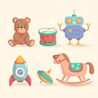 Flaches design weihnachtsspielzeug sammlung