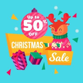 Flaches design weihnachtsverkauf banner
