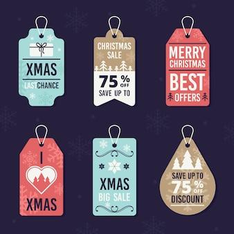 Flaches design weihnachtsverkaufs-tag-sammlung
