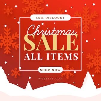 Flaches design-weihnachtsverkaufsbanner